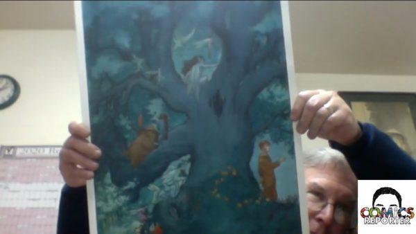 """Un frame dalla video intervista, in cui Vess mostra una tavola inedita tratta dall'edizione limitata del graphic novel StarDust"""", su tesi di Neil Gaiman"""