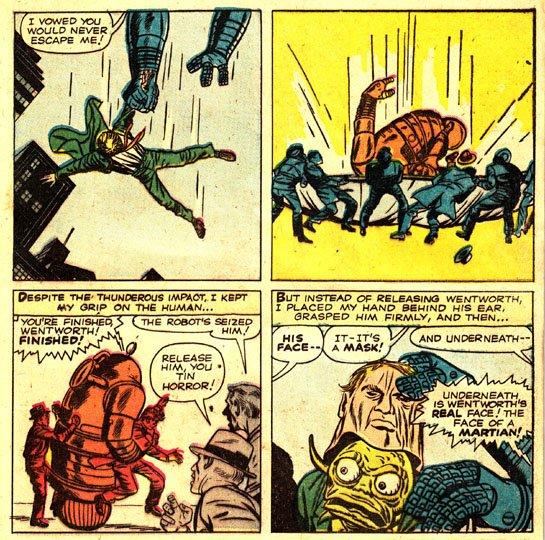 """Confrontate il look di queste spie marziane nella storia """"I am Robot X"""" del 9/61 (questa tavola) con quello degli agenti skrull, i primi alieni del nuovo universo Marvel, infiltrati a loro volta in FANTASTIC FOUR 2 del 1/62... (terza immagine: sequenza di 3 vignette)"""