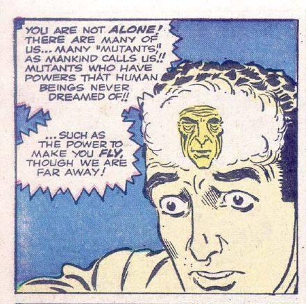 """""""Tad Carter"""", Prototipo di Peter Parker. Vignetta estratta dall'ultima pagina di """"The Man in the Sky"""", in cui ted viene sottratto al linciaggio dall'azione a distanza di uno sconosciuto che lo trasporta telecineticamente in volo, e parlandogli con la mente gli annuncia di essere come lui un mutante, e che lo condurrà al sicuro in un luogo dove le persone come lui potranno vivere in pace sino al giorno in cui l'umanità sarà pronta ad accettare i suoi successori."""