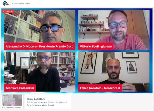 Screenshot durante l'assegnazione del premio a Gianluca Costantini