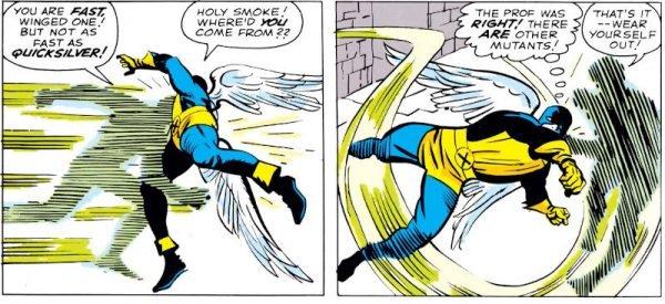 Lo stesso Jack Kirby nella creazione del parco-personaggi del nuovo universo Marvel avrebbe derivato fattezze ed effetti vari dalle sue storie trascorse: i mutanti Quicksilver (in questa immagine e nella precedente) e lo stesso Professor X devono molto a figure comparse in STRANGE TALES 67 e 69, ancora nel lontano '59.