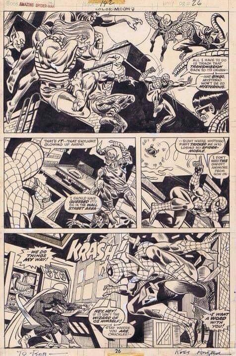"""pagina originale di Spiderman, di Ross Andru, tratta dalla storia """"Faccia a faccia con il morto""""(n. 182 della collana Uomo Ragno, editoriale Corno)"""