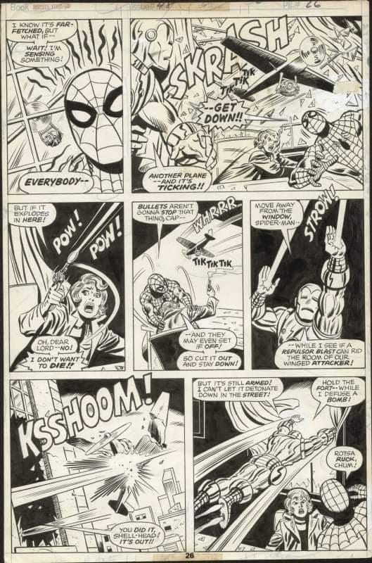 pagina originale di spiderman, di sal Buscema