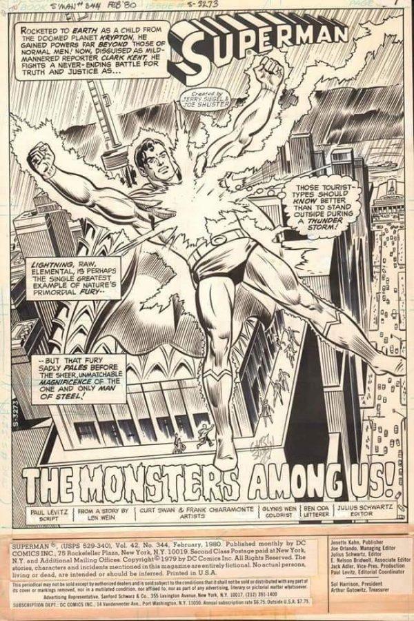 una pagina tratta da Superman 344 del febbraio 1980, disegnata da Curt Swan