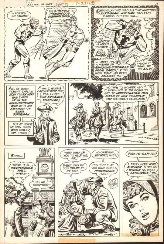 pagina originale di Superman, di Curt Swan