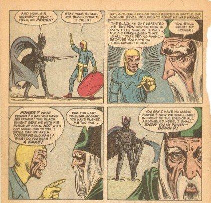 """Sequenza di vignette tratte da su STRANGE TALES n.108; Ditko ha già definito nel dettaglio le sembianze del suo arcinemico stregone BARONE MORDO, infilato nel racconto """"The Iron Warrior"""" alle prese nientemeno che col Mago Merlino!"""