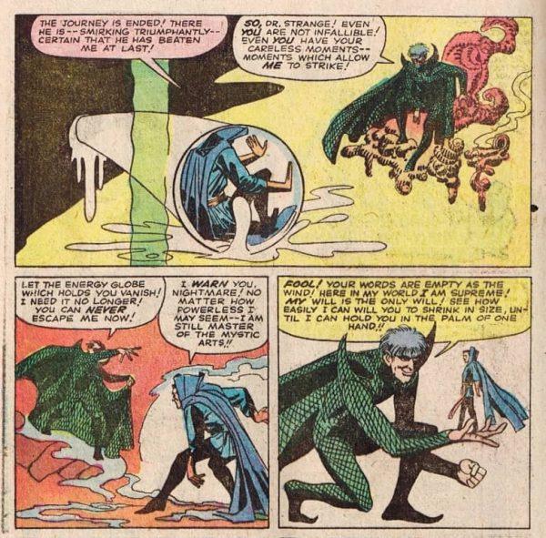 Tre vignette con la prima apparizione di Nightmare (Incubo), di Steve Ditko