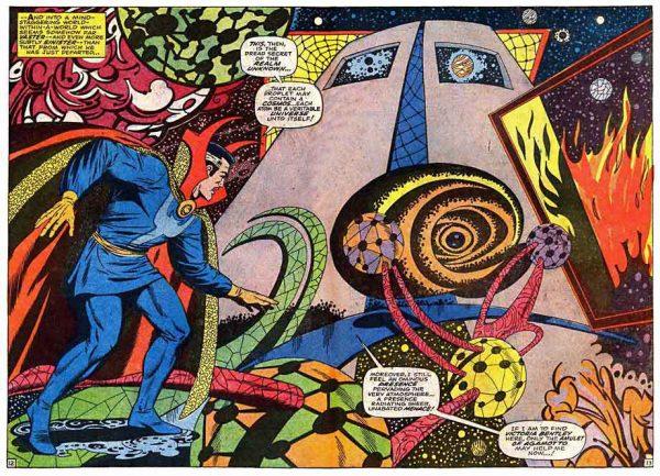 Un esempio della   straordinaria scenografia allestita da Ditko, per Dottor Strange, una sinfonia di follia policroma tra Dalì e Kandinsky.