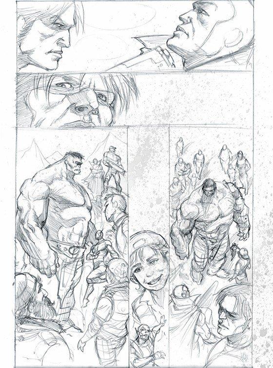 Una tavola a matita di Lucio Parrillo, per Hulk