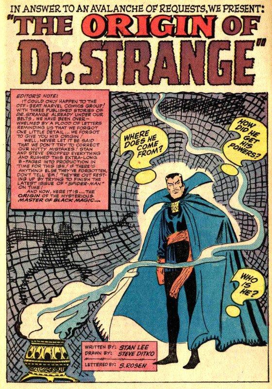 La pagina di apertura della storia sulle origini del dottor strange da STRANGE TALES 115