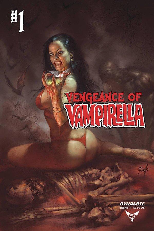 Copertina del #1 di Vengeance of Vampirella (Dynamite), dipinta da Lucio Parrillo