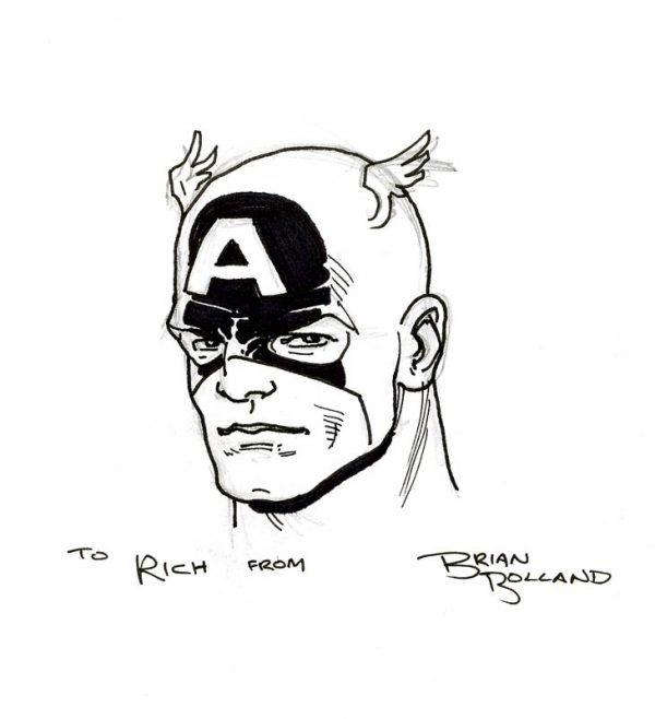 Un viso di Captain America disegnato da Brian Bolland