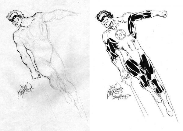 Schizzo di Green Lantern by John_Byrne, poi inchiostrato da BobMcLeod