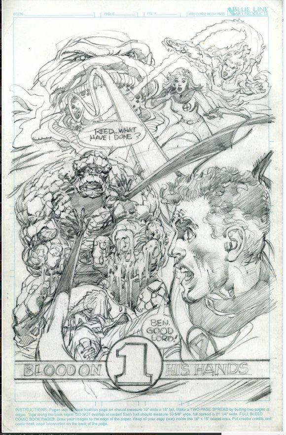Neal Adams: bozza preliminare per una copertina, della miniserie Fantastic Four, che non sarà pubblicata