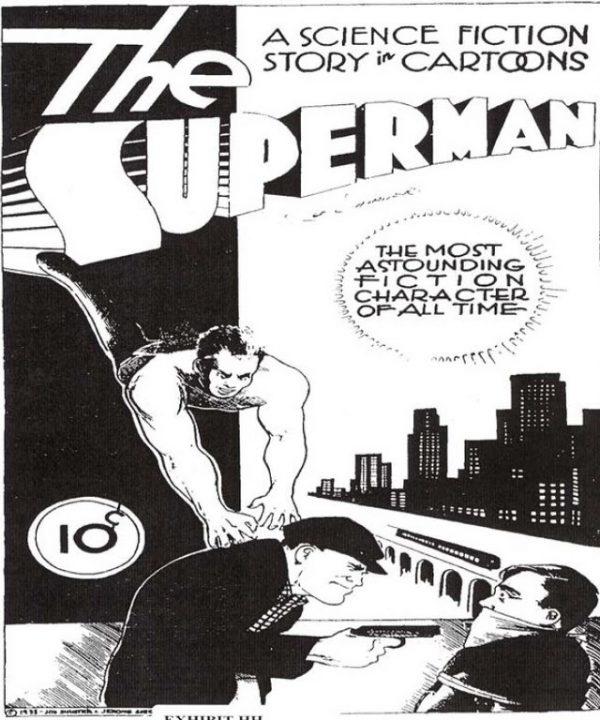la prima pagina dell'originaria versione di The Superman, anno 1932