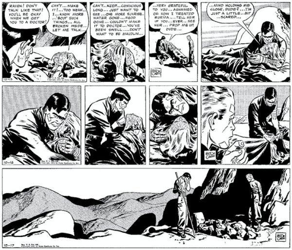 Milton Caniff ebbe l'audacia senza precedenti di uccidere un personaggio dei fumetti (Raven Sherman) . Ecco la sequenza che ispirò la morte Gwen Stacy