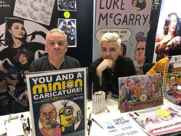 Steve McGarry e Luke il figlio e musicista del fumettista