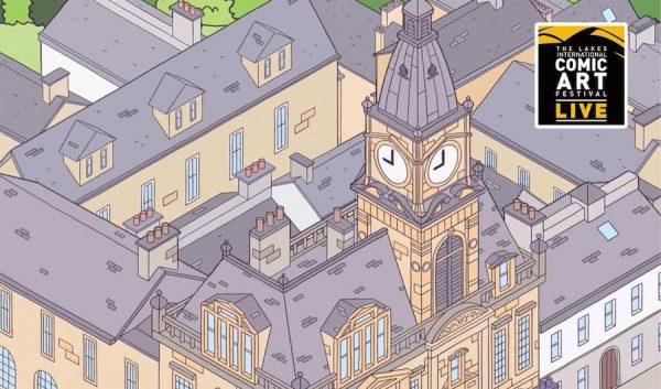 Disegno dedicato al lancio online della Virtual Comics Clock Tower, progettata da Joe e Luke McGarry, un mercato virtuale per creatori di fumetti