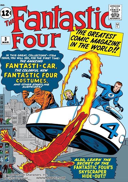 Cover di Fantastic Four #3 nella quale sono messi in evidenza i nuovi (per allora) costumi