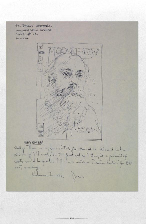Appunti di De Matteis per una cover di Moonshadow.