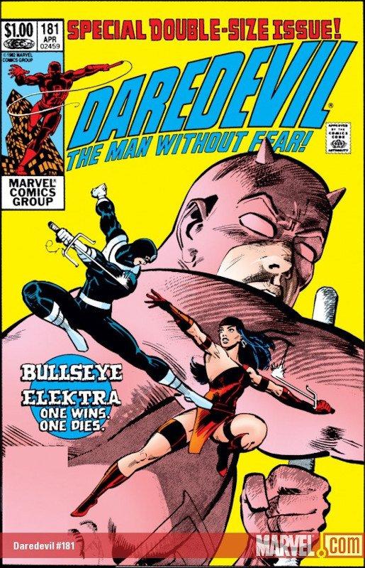 La copertina di Daredevil, the Man without Fear. #181 con la saga dell'assassinio di Elektra.