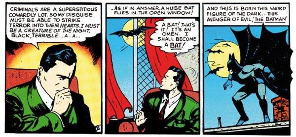 Tre vignette tratte dalle prime storie di BatMan (1939)