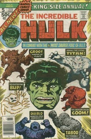 Cover dell'albo USA, the Incredible Hulk Annual #5 (19769 con Hulk che si scontra con 5 mostri già apparsi negli albi Atlas.