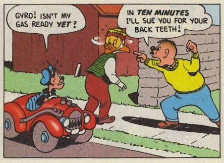bizzarra unica apparizione di un personaggio di nome Speedy, vestito come Paperino e alla guida della 313 di Paperino....
