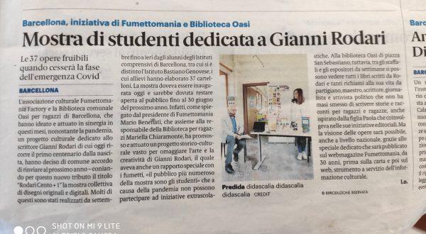 """L'articolo odierno a pagina 31 (tirrenica) del quotidiano """"LA Gazzetta del Sud""""a cura diu Leonardo Orlando, sul nostro progetto su Rodari."""