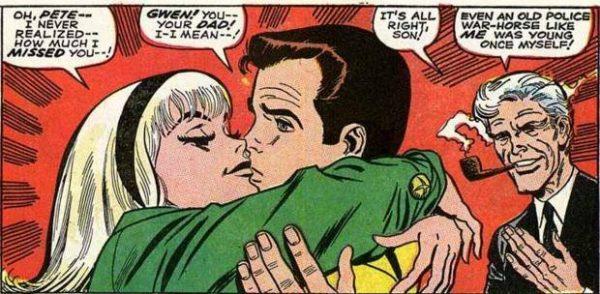 Peter Parker venivabaciato da un'entusiasta Gwen Stacy, nel numero 59 di Amazing Spider Man - sotto gli occhi di papà George, per di più.