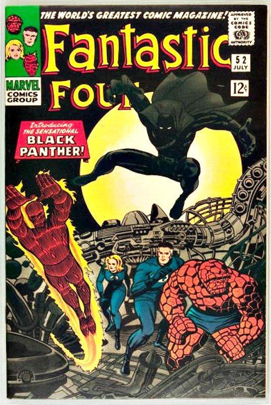 Balck Panther comparve per la prima volta nel 1966 sul numero 52 della serie Fantastic Four (questa è la copertina) e fu, quindi, il primo supereroe africano o afro-americano.