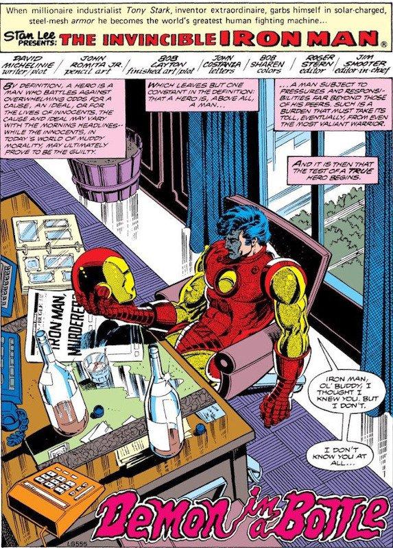 """La pagina di apertura del """"Demone nella bottiglia"""", con la discesa nell'inferno di Iron Man e di Tony Stark, il quale tra l'altro ha una sorta di dipendenza nei confronti di questa corazza (dopo quella nei confronti dell'alcool) perché vi è un dispositivo che gli regola il cuore."""