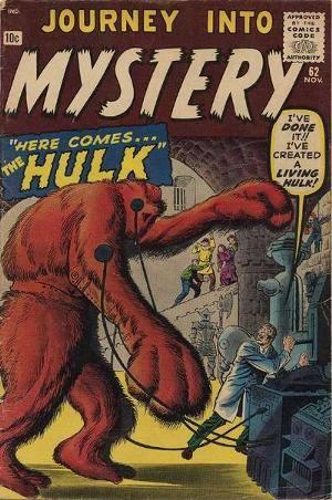 Cover dell'albo USA JOURNEY INTO MYSTERY 62, nel quale appare per la prima volta un mostro di nome Hulk