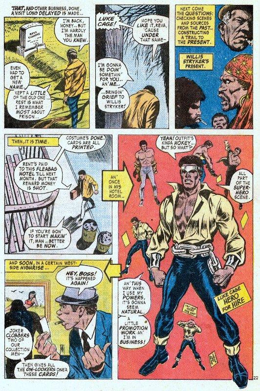 Una pagina significativa della serie dedicata a Luke Cage, Hero for hire. Era il 1972