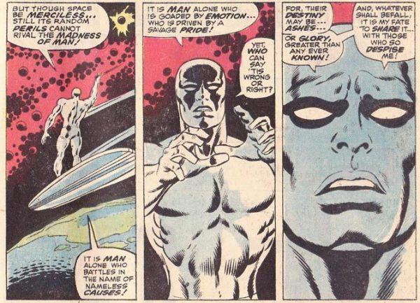 tre vignette significative tratte da una storia di Silver Surfer.