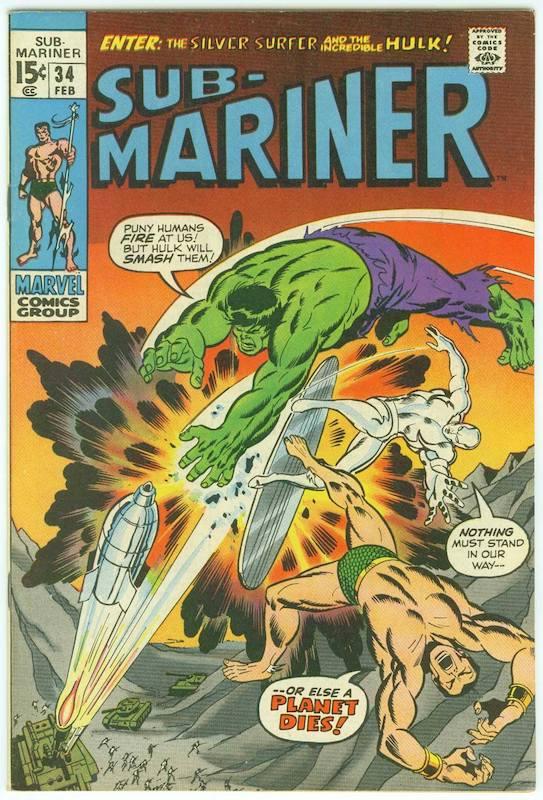 In SUB-MARINER 34 del Febbraio 1971 Namor, Hulk e Silver Surfer apparvero per la prima volta insieme in una storia singola, smuovendo grande attenzione.