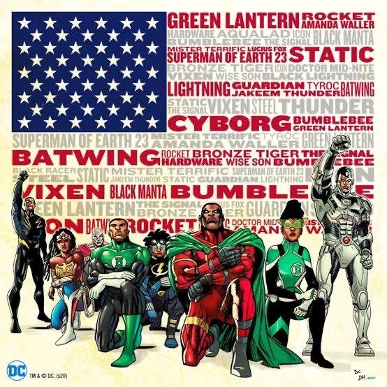Alcuni super eroi di colore, rappresentati da Denys Cowan