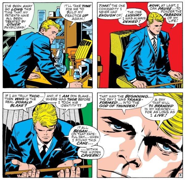 Sequenza con Thor, che vive una vita umana, peraltro complicata dalla condizione di claudicante.