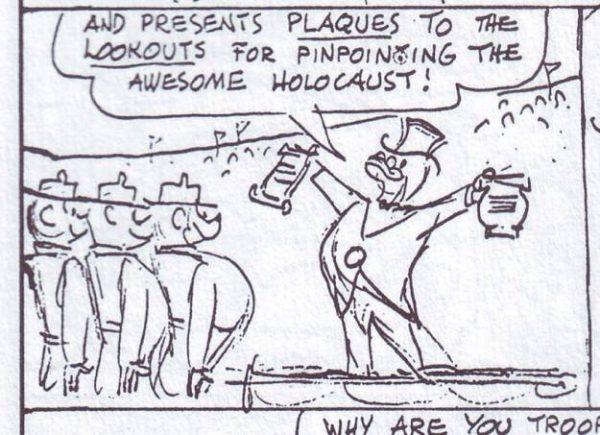 """Vignetta originale di """"Where's the Smoke"""".  Nel 1972 vide il sindaco di Paperopoli premiare il Corpo dei Pompieri per aver """"limitato l'olocausto""""!"""