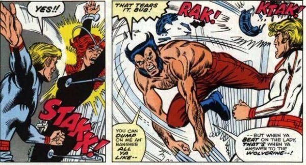 Wolverine senza maschera, per la prima volta, in X-Men #98