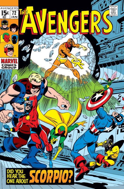 Cover dell'albo Avengers #72 in cui viene rivelata l'identità di Skorpio.