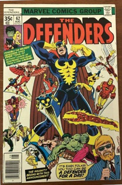 """Cover dell'albo defenders #62 con la dissacrante saga """"Difensori per un giorno"""""""
