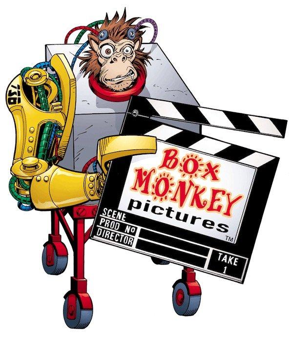 """Logo della compagnia """"Box Monkey Pictures"""" di Bob Layton"""