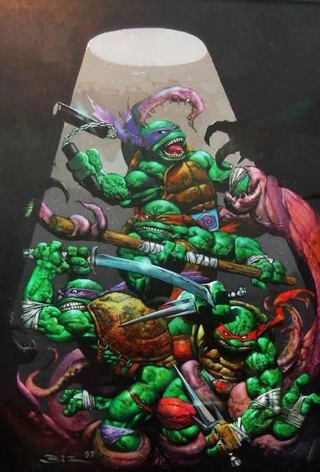 Illustrazione delle Ninja Turtles di Simon Bisley