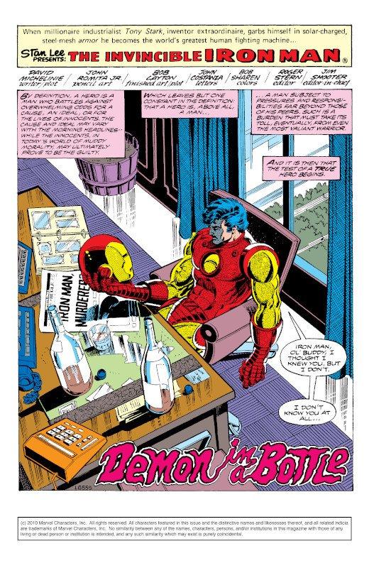 """Prima pagina della storia """"Il demone della bottiglia. disegni di Bob Layton"""