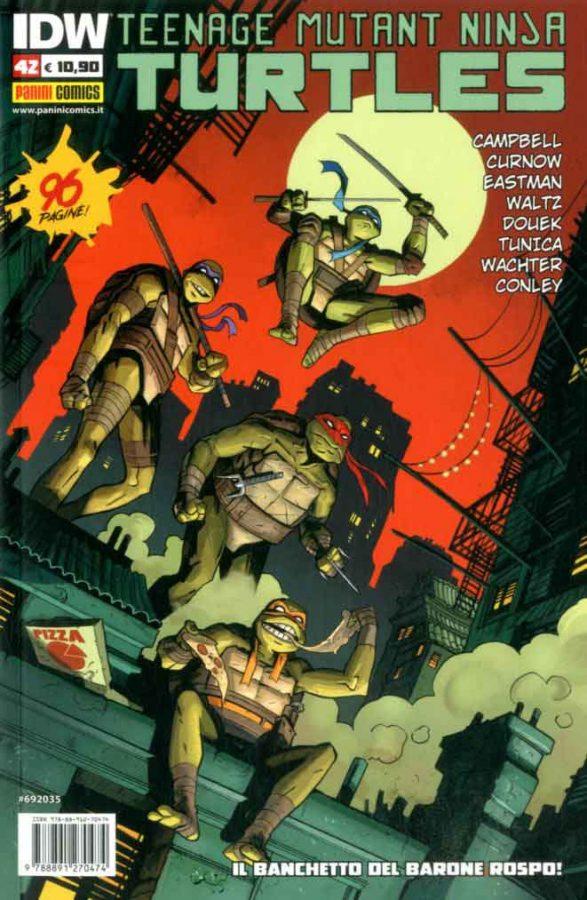 La copertina dell'albo n. 42 della collana italiana dedicata alle tartarughe Ninja (Panini comics)