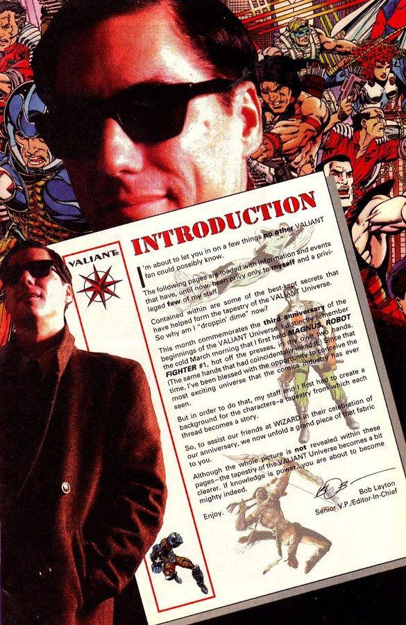 Collage con L'editoriale di introduzione per un albo della Valiant.
