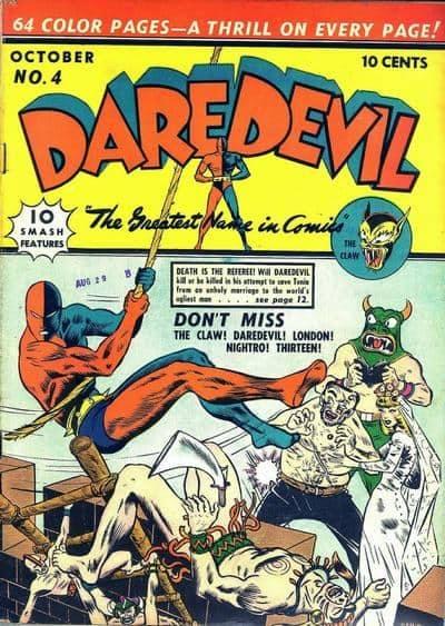 Daredevil. l'orginale character degli anni 40, poi ripreso da Lee/Everett nel 1964