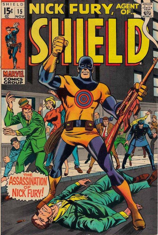 Cover dell'albo NICK FURY #15 del 1969, con l'apparizione del primo Bullseye