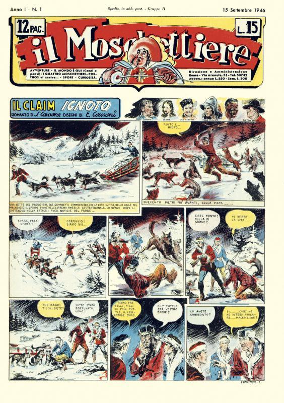 """pagina 1 del n. 1 del """"Il Moschettiere (15 settembre 1946)"""